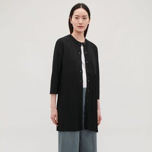 COS Long Pleated Cardigan Black Size S